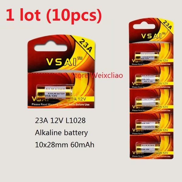 10 pcs 1 lote 23A 12 V 23A12 V 12V23A L1028 bateria alcalina seca 12 Volts cartão de baterias VSAI Frete Grátis