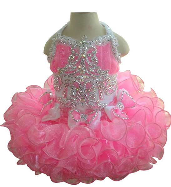 best selling Princess Girls Pink Pageant Cupcake Dresses Toddler Glitz Mini Crystal Gowns Infant Special Occasion Dresses