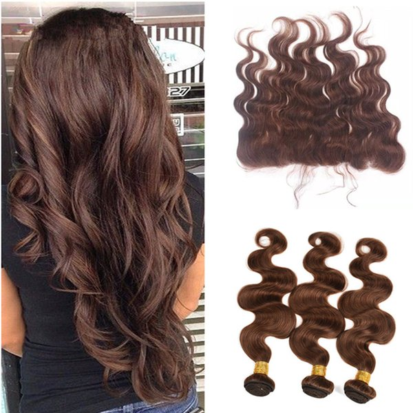 Chocolate Brown Brazilian Hair With 13*4 Full Lace Frontal 4Pcs Lot #4 Medium Brown Body Wave Virgin Human Hair Bundles With Frontal Closure