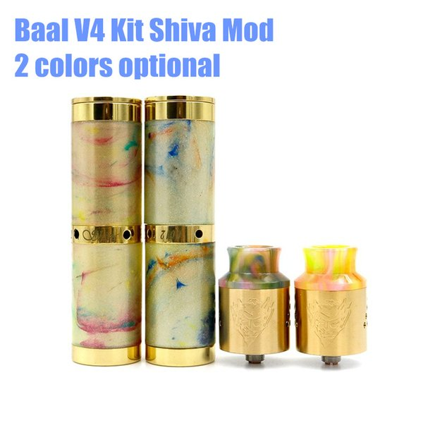 New Baal V4 Kit Baal V4 Rda With Shiva Resin Mod 18650 Mechanical Kit Resin  Drip Cap 24mm Diameter Vape RDA Vapor Mod Best E Cig Juice E Cig