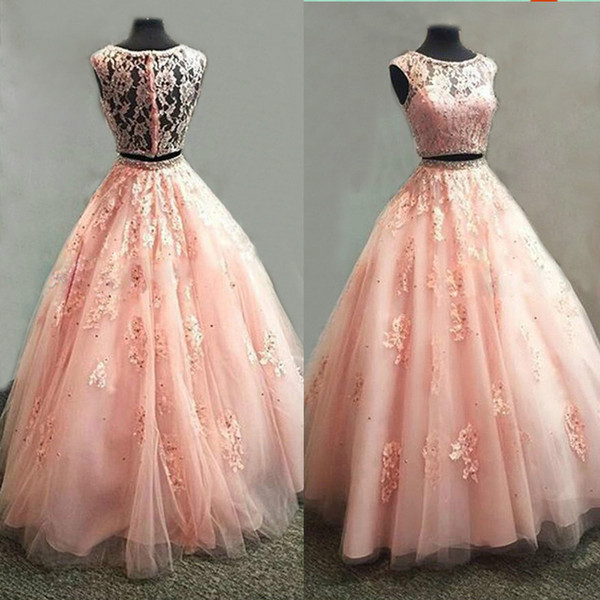 High Quality Coral Two Pieces Prom Dress Beaded Appliqued Lace Tulle Ball Gown Illusion Cap Sleeve Long Evening Party Dresses Robe De Soiree