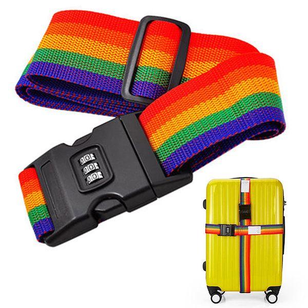 Rainbow Travel Luggage Suitcase Strap Baggage Luggage suitcase Secure Lock Backpack Safe Belt with Coded Lock Travel Kits