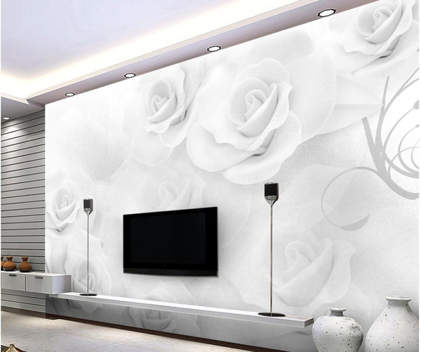 Modern simple three - dimensional white rose TV backdrop mural 3d wallpaper 3d wall papers for tv backdrop