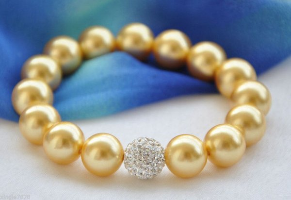 Fashion Jewelry 12mm Genuine Golden South Sea Shell Pearl Gems Bracelet 7.5'' free shipping