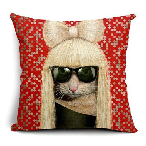 Creative Linen housse de coussin taie d'oreiller 45 taille chiffres carrés impression cool conception de dessin animé personnes célèbres chien chat tête usage cadeau de vacances