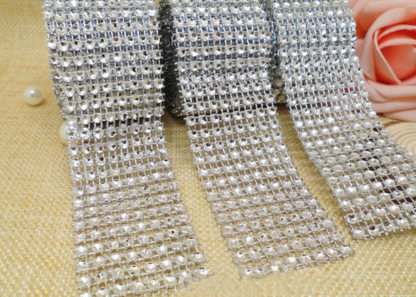 4cm*2meter Bling Diamond mesh Wrap ribbon silver Rhinestone Mesh Roll Tape Tulle Crystal Ribbon cake wedding decoration 10pcs/