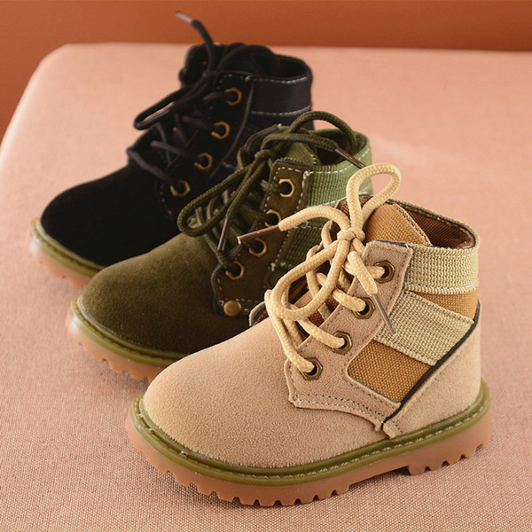 New arrival 2017 autumn winter kids short ankle desert boots laces dull polish wear resistant shoes for boys light tan black green US 5.5-12