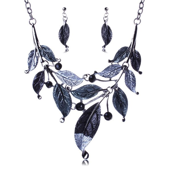 4 Colors Enamel Branch Leaves Necklace Earrings Jewelry Sets Crystal Leaves Statement Jewelry for Women Gift Drop Shipping