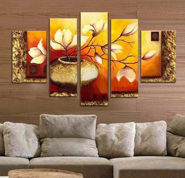 Modern Canvas Wall Art Hand-painted Golden Bottle Elegent Flowers Home Decoration Floral Oil Paintings on Canvas 5pcs/set