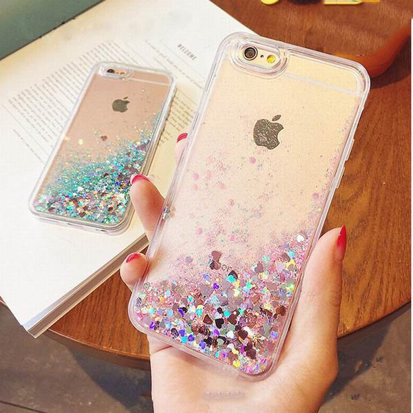 Hot Love Heart Glitter Stars Dynamic Liquid Quicksand Soft TPU Phone Back Case para Iphone 6 6S 6Plus 6Splus 7 7Plus 5 5S