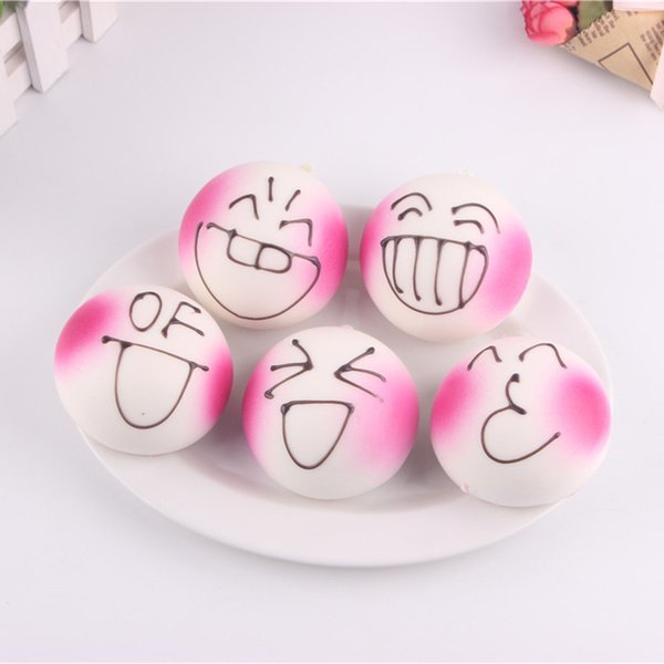 30PCS 7CM Jumbo DIY Expression Squishy Soft White Body Pink Face Bread Scented Phone Charms Bun Straps