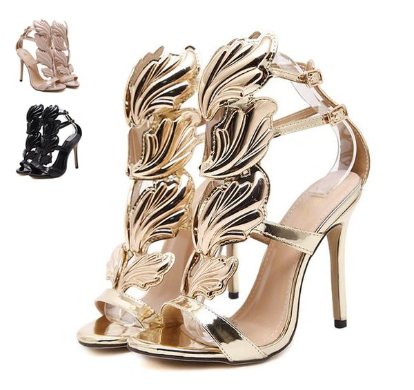 best selling Flame metal leaf Wing High Heel Sandals Gold Nude Black Party Events Shoes Size 35 to 40