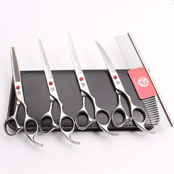 """5Pcs Suit 7"""" 440C Purple Dragon Professional Pets Dogs Cat Hair Scissors Comb +Cutting Shears +Thinning Scissor +UP&Down Curved Shears Z3003"""