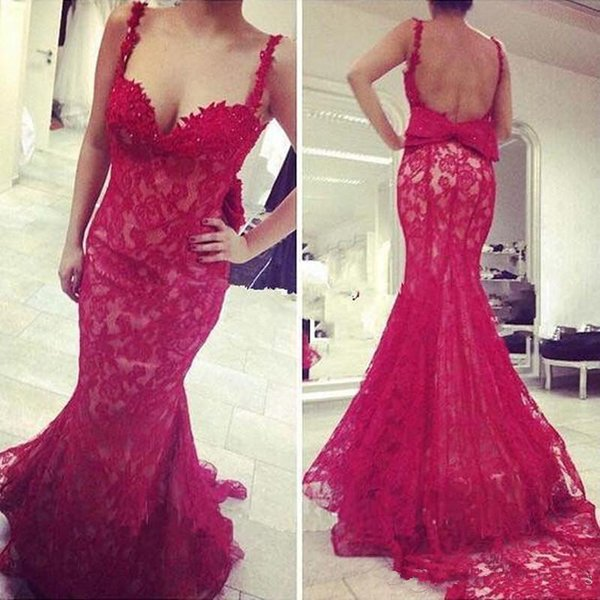 Red Lace Spaghetti Straps Evening Dresses Mermaid Open Back Prom Gown With Bow Vestido De Festa Longo 2017