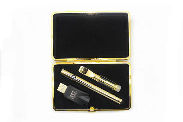 2018 Golden glass vape battery Kit Vaporizer bud touch 280mAh battery O pen CartridgeVapor WAX thick Oil atomizer tank e cig starter kits
