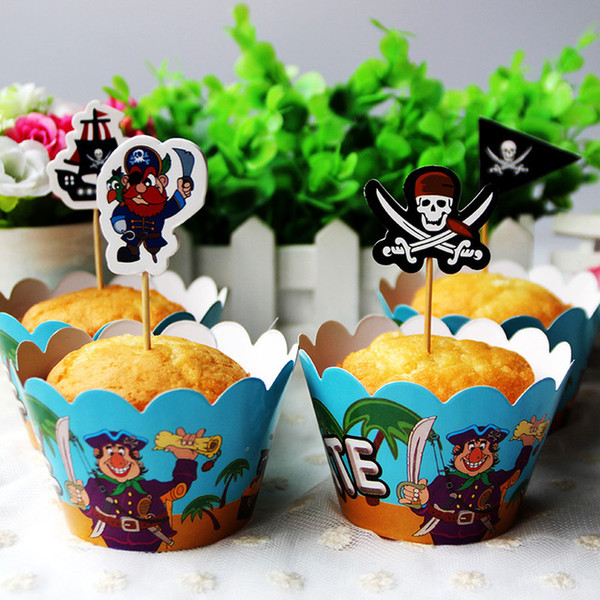 Wholesale-movie pirate paper cupcake 12 pcs wrappers+12 pcs toppers boys kids favor festival birthday party decoration supplies wholesale