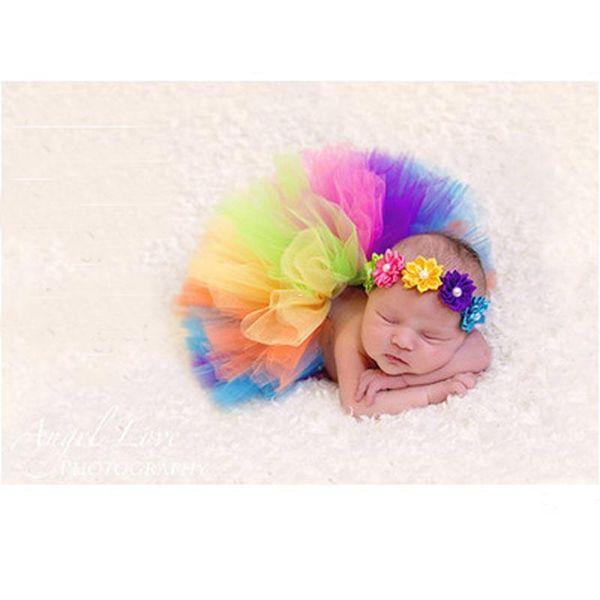 Rainbow style Baby Photography Tutu Matching Flower Headband Newborn Tutu skirt Pattern for 0 - 6 Months GM066