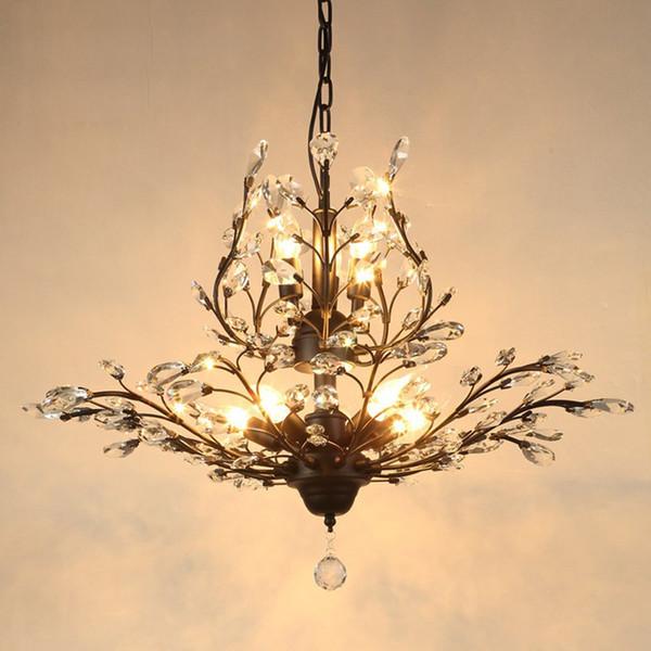 American country restaurant araña de cristal estilo europeo LED lámparas de entrada de hierro sala de estar escaleras arañas de cristal