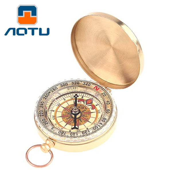 AOTU Metal Brass Pocket Watch Style Camping Compass Outdoor Tools Outdoor Camping Hiking Portable Brass Pocket 176