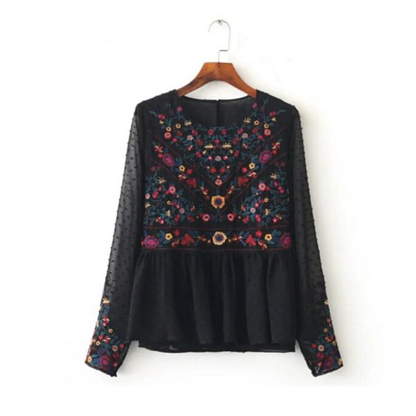 Wholesale- Vintage Colorful Floral Embroidery Back Button Chiffon T-Shirt New Woman Ruffles Hem Pullover Long Sleeve Top Femme Black