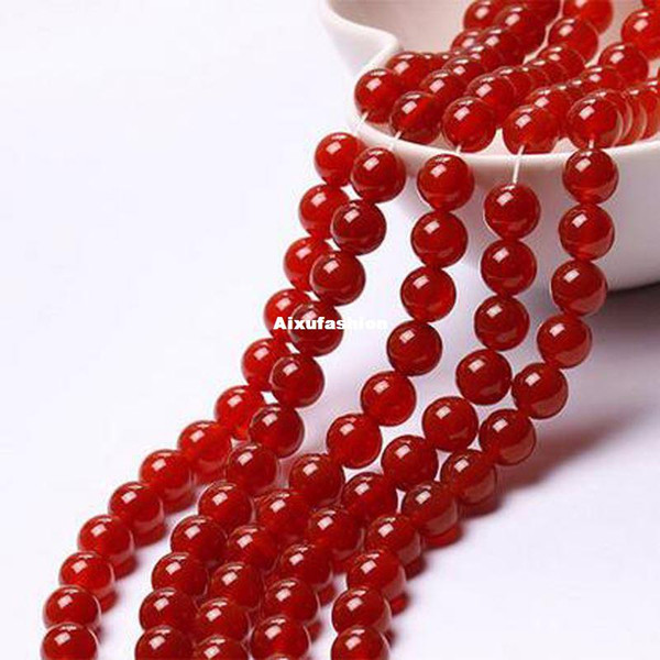 Мода модные 8 мм натуральный красный круглый свободные бусины Jades 15