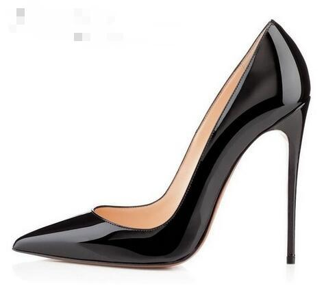 hot brand shoes woman high heels shoes black / red patent leather married women high heels shoes pumps tip is sexy stiletto