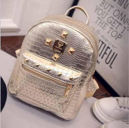 2017 New College Wind Schoolbag Washed Leather Backpack Women Gold ...