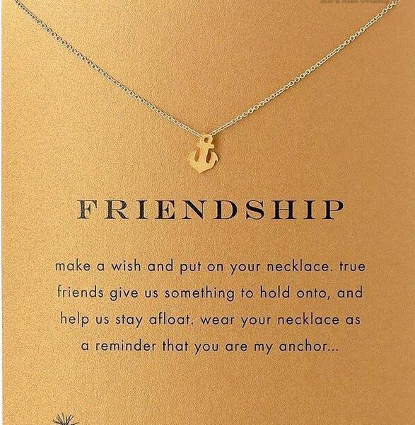 Mit Karte! Silve und Goldfarbe nette Dogeared Halskette mit Bootsanker (Freundschaft), kein verblassen, kostenloser Versand und hohe Qualität.