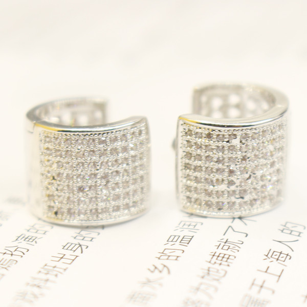 2019 Fayelight Men Women Real 925 Sterling Silver Plated Iced Out Hallow  Micro Pave Austrian Crystal Hoop Earrings Weight: 5G From Fayelight, $14 08  |