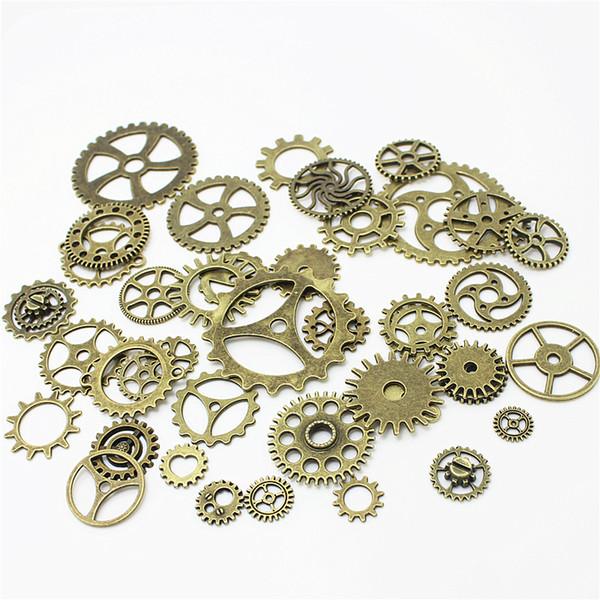 100pcs / lot Vintage Metal Mixte Engrenages Charms Pour La Fabrication de Bijoux Bricolage Steampunk Gear Pendant Charms En Gros