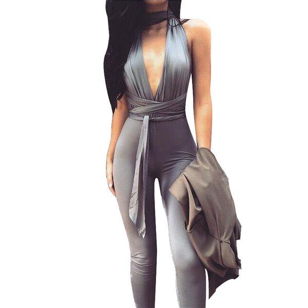Toptan Satış - Kadınlar Uzun Rompers ve Tulum 2016 Yeni Moda Kadınlar Derin V Yaka Blackless İnce Seksi Bandaj Gece Kulübü Parti Bodycon Tulum