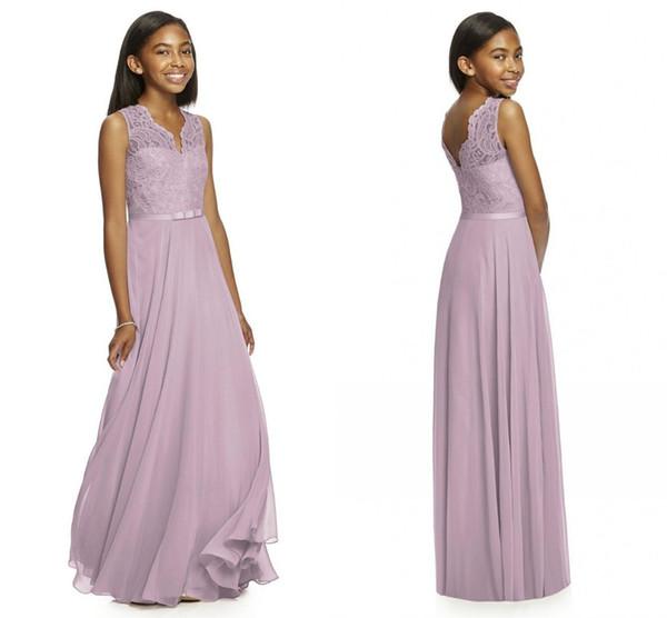 2017 Lilac Junior Bridesmaid Dresses V Neck Sleeveless A Line Floor ...