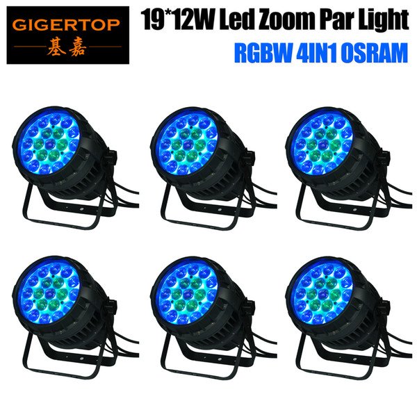 Gigertop 6 Pack TP-P83 19x12W OS-ram Waterproof Led Zoom Par Light IP65 10-50 Degree Beam Angle Adjustable Long Project Spot
