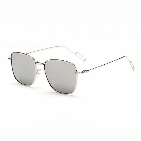 Occhiali da sole con lenti a specchio polarizzate a forma quadrata a forma di donna Occhiale da sole con montatura in metallo leggero