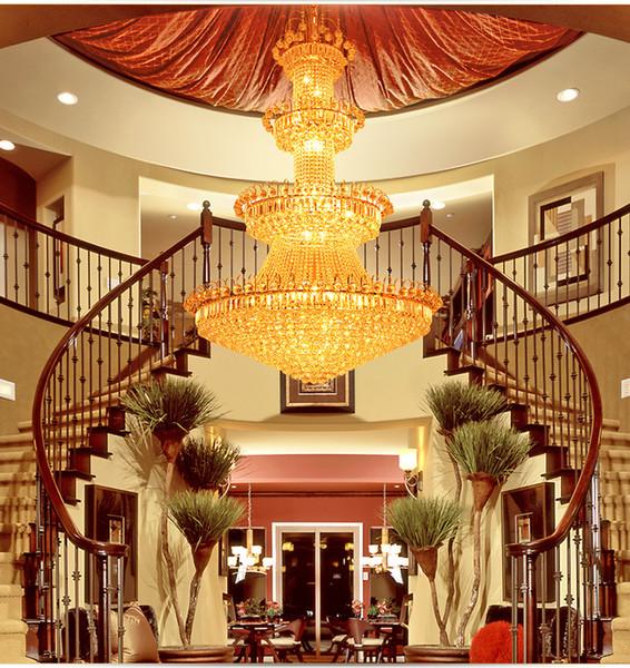Double floor chandelier hotel lobby crystal lamp villa living room Golden Crystal Chandelier chandelier interior decoration lamp
