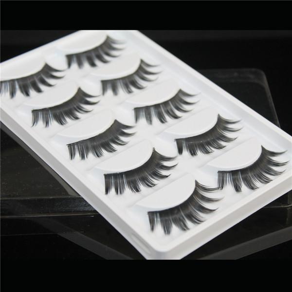 False eyelashes 5 pairs of fan-shaped long paragraph natural curling up the eyelashes W35 Smokey Makeup Eye Lashes wholesale