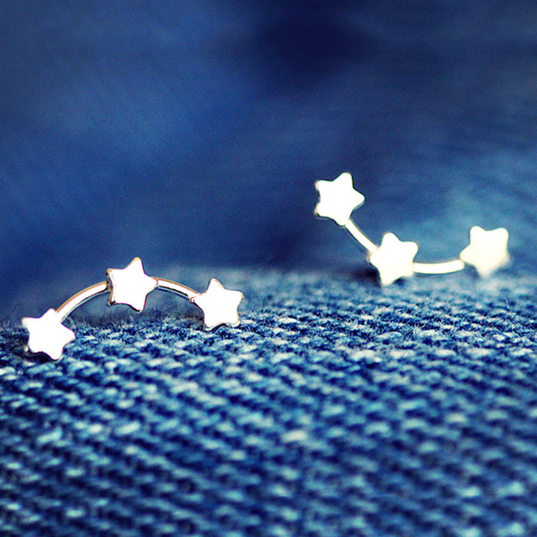 5 pairs/lot Trendy Pure 925 Sterling Silver Lovely Little 3 Stars Stud Earrings for Women Sterling Silver Jewelry