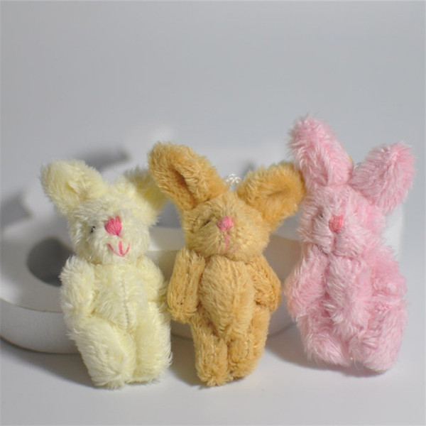Cute Soft Mini Joint Rabbit Pendant Plush Bunny For Key Chain Bouquet Toy Doll DIY Ornaments Gifts Random Color
