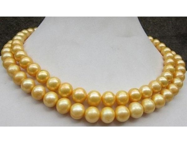 Beautiful South Sea AAA 8-9MM Natural Gold Pearl Neckrace 35 Inch 14K Gold Clasp