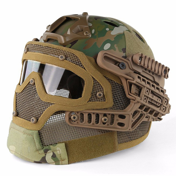 top popular FAST Tactical Helmet BJ PJ MH ABS Mask with Goggles for Airsoft Paintball WarGame Motorcycle Cycling Hunting 2021