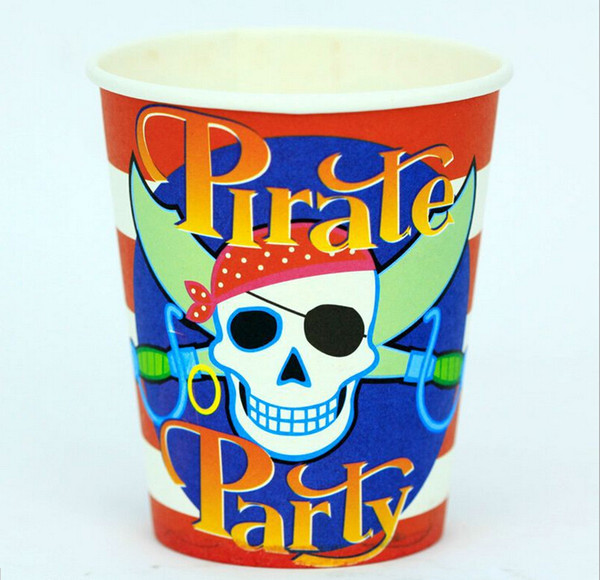 Wholesale-Party decoration favor supply Pirate birthday party Paper cups Children's Hand creative accessory 9oz 6pcs/lot