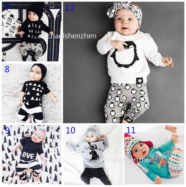 30 Stil Baby INS Fuchs Streifen Brief Anzüge DHL Kinder Kleinkind Säuglingsbeiläufiges Kurzes langärmliges T-Shirt + Hose 2 PC-Sätze Pyjamas B001
