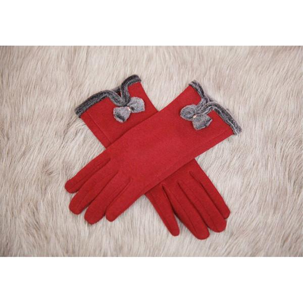 Großhandelsfrauen-Dame Winter Touch Screen Gloves Bowknot Full Finger Warm Mittens Wine Red