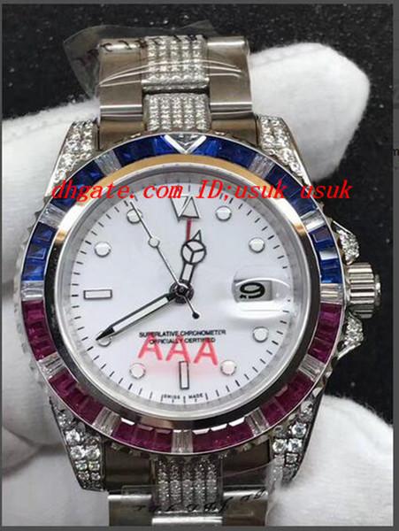 Relógio De Pulso De luxo II 2 116710 Personalizado Sapphire Rubi Diamante Automático Assista Homens Relógios de Alta Qualidade Nova Chegada