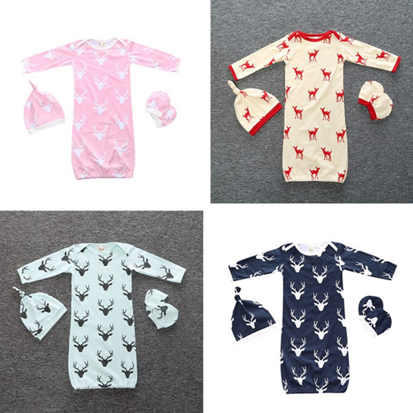 New ins baby infant newborn Christmas Elk Swaddle Sleeping Bags Sack Hat Cap Gloves Pajamas Kids Clothing Clothes Set for Boys Girls