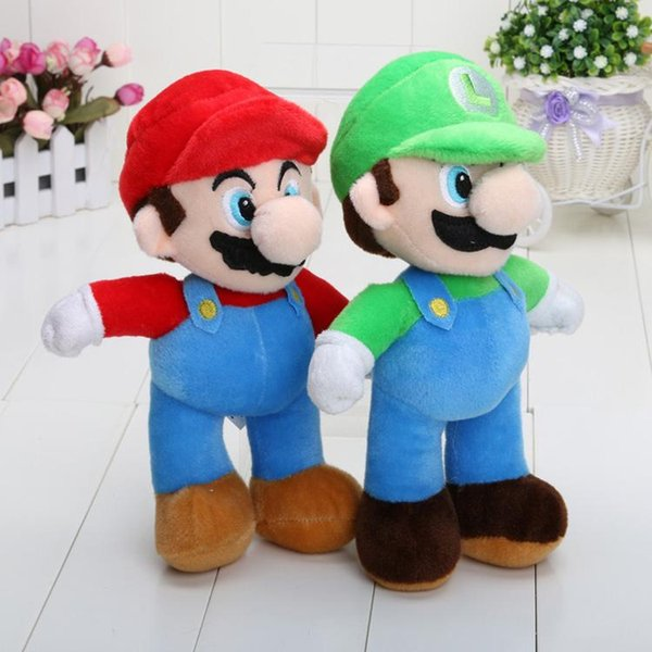 10'' Free Shipping Super Mario Bros Stand MARIO & LUIGI Plush Doll Stuffed Toy And Retail For Kid Best Gift