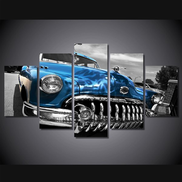 5 Pcs/Set Framed HD Printed buick byuik 1950 retro Painting on canvas room decoration print poster picture canvas Free shipping/ny-1716