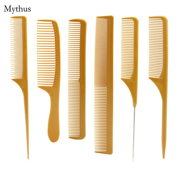 6 Pcs/Kit Salon Hairstylist Carbon Cutting Comb Tail & Plain Haircut Comb Suitable For Cuting All Type Hair AK-06