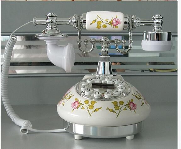 Decoration Arts crafts home landlineRetro Vintage Antique Style Floral Ceramic Crafts Desk dial process Telephone Model