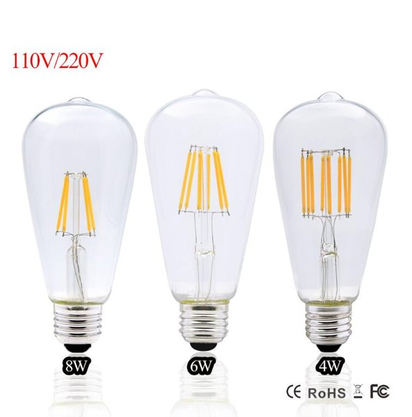 2017 Led Edison Bulb E27 Dimmable Vintage Led Filament 4W 6W 8W ST64 220V 110V Retro Edison Bulbs Led lamp Replace Incandescent Lights